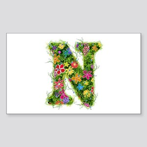 N Floral Rectangle Sticker
