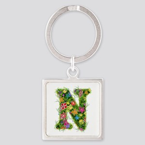 N Floral Square Keychain