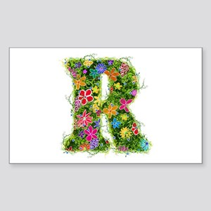 R Floral Rectangle Sticker
