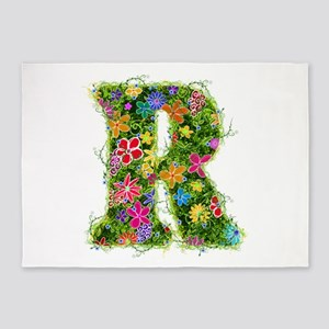 R Floral 5'x7' Area Rug