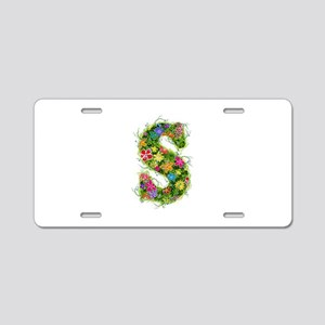 S Floral Aluminum License Plate