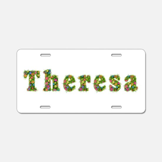 Theresa Floral Aluminum License Plate