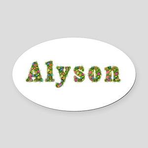 Alyson Floral Oval Car Magnet