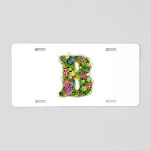 B Floral Aluminum License Plate