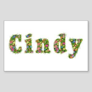 Cindy Floral Rectangle Sticker