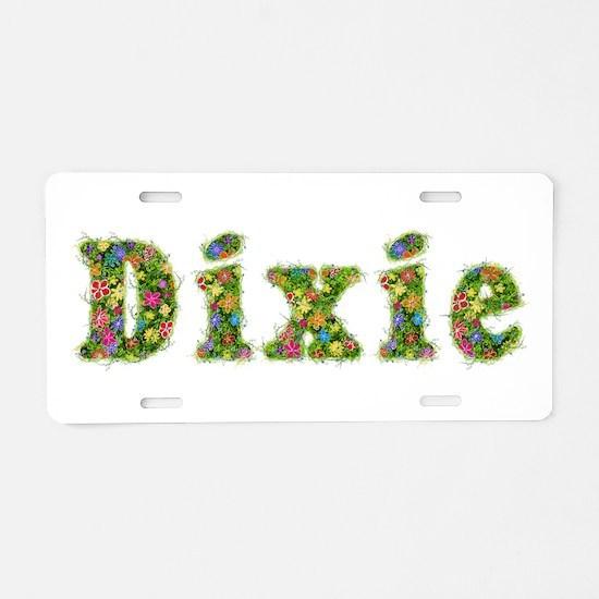 Dixie Floral Aluminum License Plate