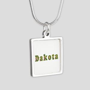 Dakota Floral Silver Square Necklace
