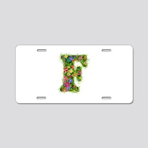 F Floral Aluminum License Plate