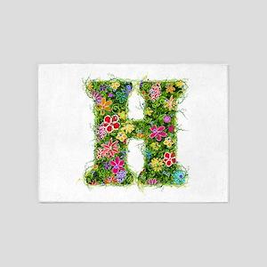 H Floral 5'x7' Area Rug