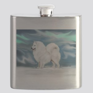 Samoyed and Northern Lights Flask
