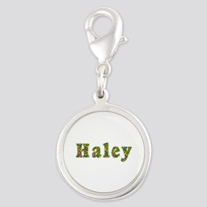 Haley Floral Silver Round Charm