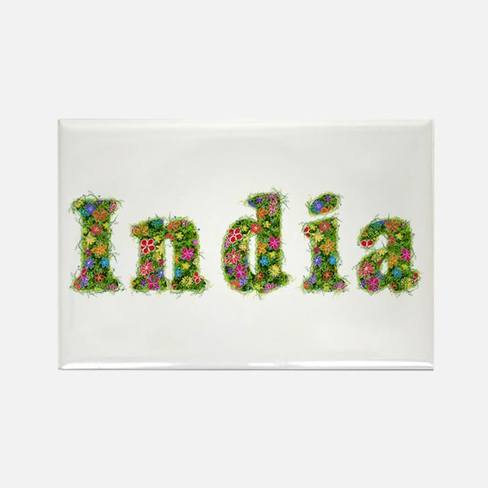 India Floral Rectangle Magnet