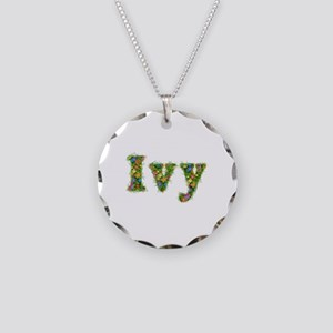 Ivy Floral Necklace Circle Charm