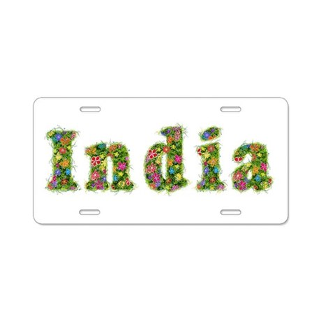 India Floral Aluminum License Plate