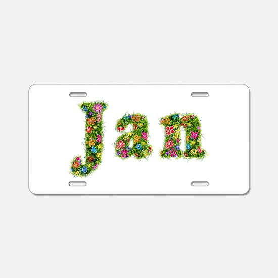Jan Floral Aluminum License Plate
