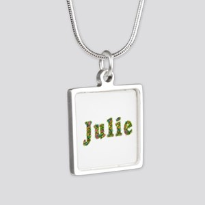 Julie Floral Silver Square Necklace