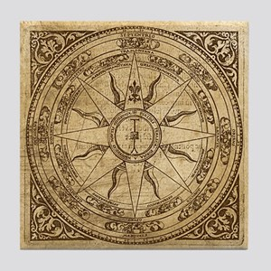 Old Compass Rose 4 Tile Coaster