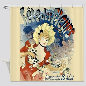 Vintage French Woman Fleurs Shower Curtain