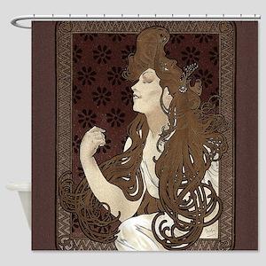 Art Nouveau Woman With Long Dark Shower Curtain
