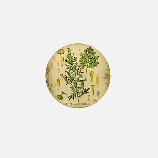 Absinthe Botanical Illustration Mini Button