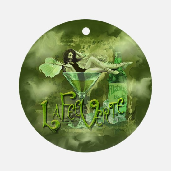 La Fee Verte In Glass Collage Ornament (Round)