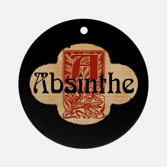 Absinthe Faux Bottle Seal Ornament (Round)
