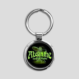 Absinthe Fairy Dark Round Keychain