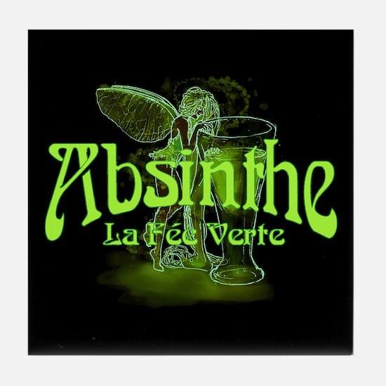 Absinthe Fairy Dark Tile Coaster