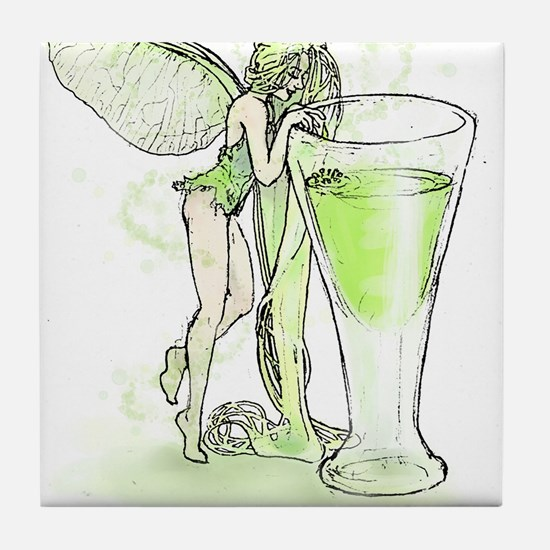 Absinthe Fairy Toying With Glass Tile Coaster