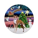 Xmas Magic with a Whippet Ornament (Round)