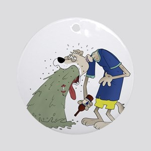 Vomiting dog Ornament (Round)