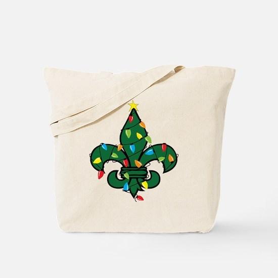 Fleur De Lis Christmas Tote Bag
