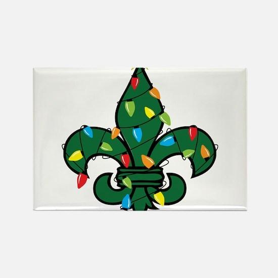 Fleur De Lis Christmas Rectangle Magnet