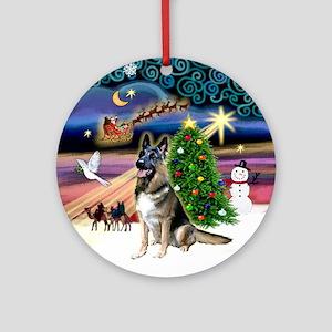 Xmas Magic & German Shepherd Ornament (Round)