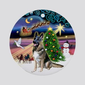 Xmas Magic & German Shepherd Ornament (Round)
