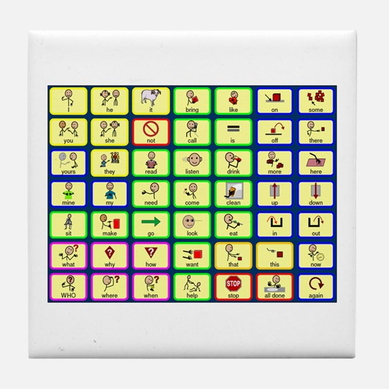 7 by 7 Core Word Communication Board - AAC Tile Co