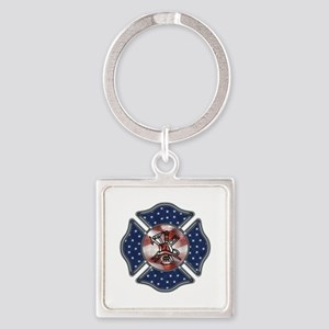 Patriotic Fire Dept Square Keychain