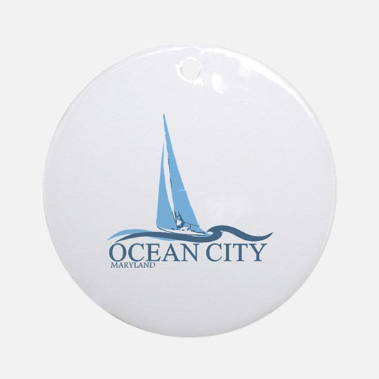Ocean City MD - Sailboat Design. Ornament (Round)