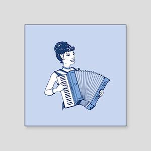 """Retro Accordion Lady Square Sticker 3"""" x 3"""""""