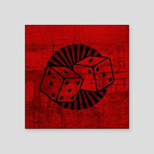 """Retro Red Dice Square Sticker 3"""" x 3"""""""