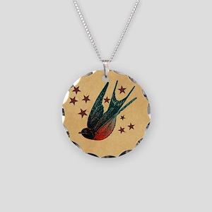 Retro Swallows And Stars Heart Necklace Circle Cha