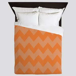 Orange And White Stripes Queen Duvet