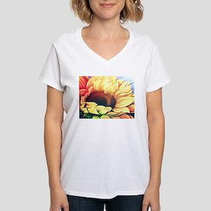 Festive Sunflower Women's V-Neck T-Shirt
