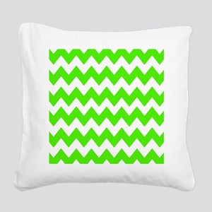 Shades of Green Chevron Square Canvas Pillow