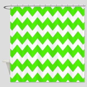 Shades of Green Chevron Shower Curtain