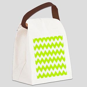 Shades of Green Chevron Canvas Lunch Bag
