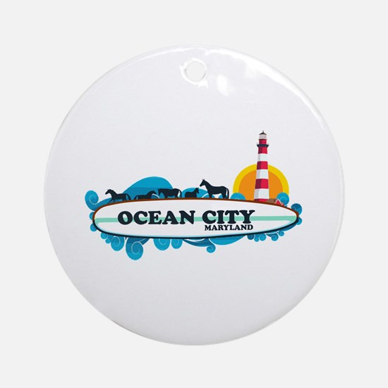 Ocean City MD - Surf Design. Ornament (Round)
