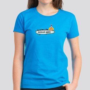 Ocean City MD - Surf Design. Women's Dark T-Shirt