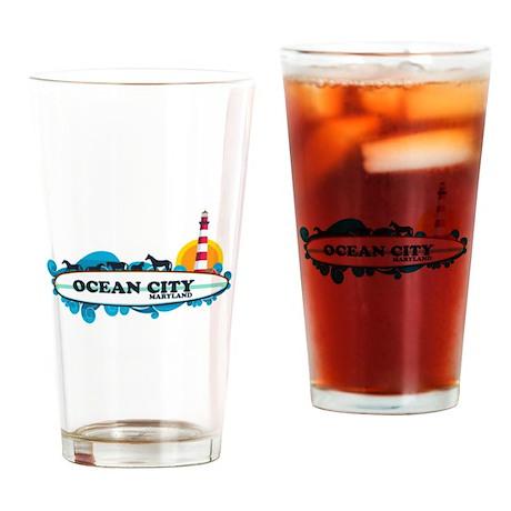 Ocean City MD - Surf Design. Drinking Glass