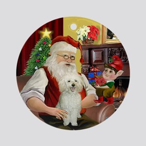 Santa's Happy White Poodle Ornament (Round)